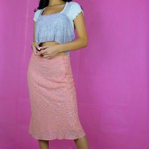 Dresses & Skirts - Vintage baby pink diamanté midi skirt